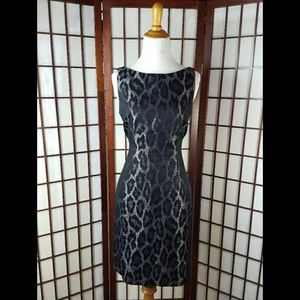 Animal Print Lined Slit Mid Back Sheath Dress